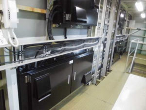宮城県サッカー場電光得点装置改修工事内部